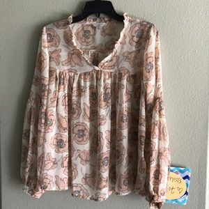 Lucky Brand Tops - NWOT🍀Brand Women's Pink Exploded Floral Top